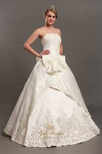 ivory a line satin strapless wedding dresses with lace With ivory a line wedding dress