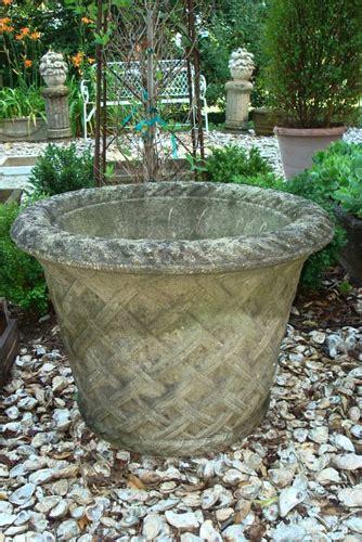 Antique Large Lattice Cast Stone Pot, English Garden