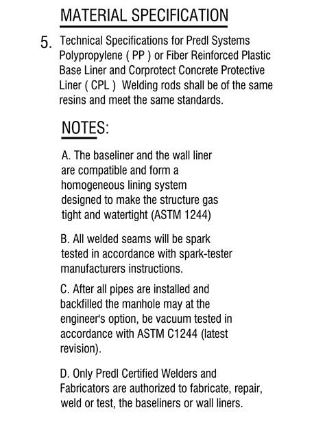 material specifications   liner systems predl systems