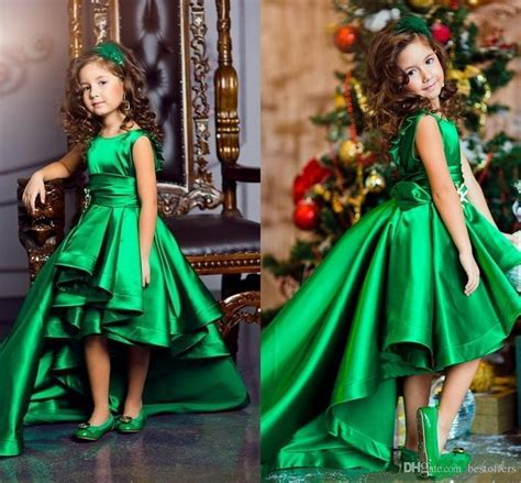 emerald green high  girls pageant dresses  ruffles