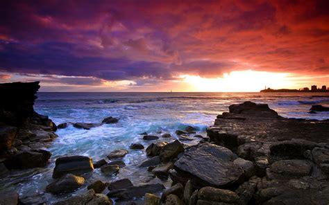Mind Blowing Wallpapers Hd Sunset Sea Rocks Landscape Wallpaper 2560x1600 156992 Wallpaperup