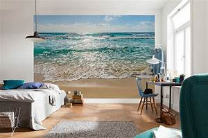 seaside beach scene paper wallpaper homewallmurals With balkon teppich mit 3d poster tapete