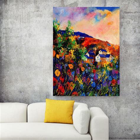 Flower village High quality poster frameless prints Oil