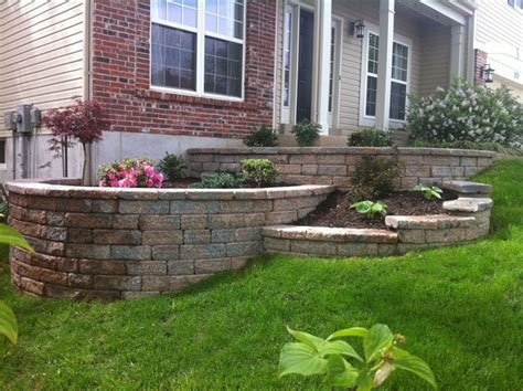 tiered backyard landscaping ideas multi tiered retaining wall traditional landscape st louis by kf landscapes