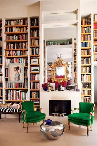 Living Vogue Rooms Library Bookshelves Paris Velvet