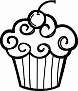 Cupcake Cupcakes Clipart Outline Birthday Cute Template Cake Clip Coloring Happy Pages Drawing Google sketch template
