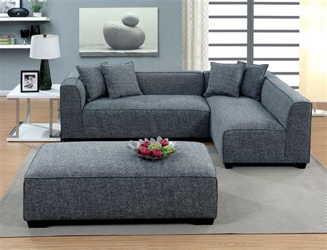 Sectional Sofas With Ottoman by Furniture Of America 6120 Gray Modern Linen Low Sectional Sofa