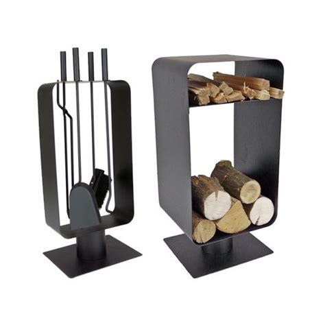 matching modern log holder kindling  fireside toolset uk