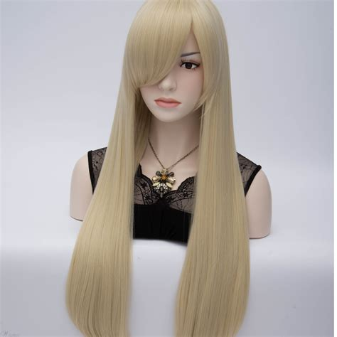 light blonde long straight anime hair party wig  side