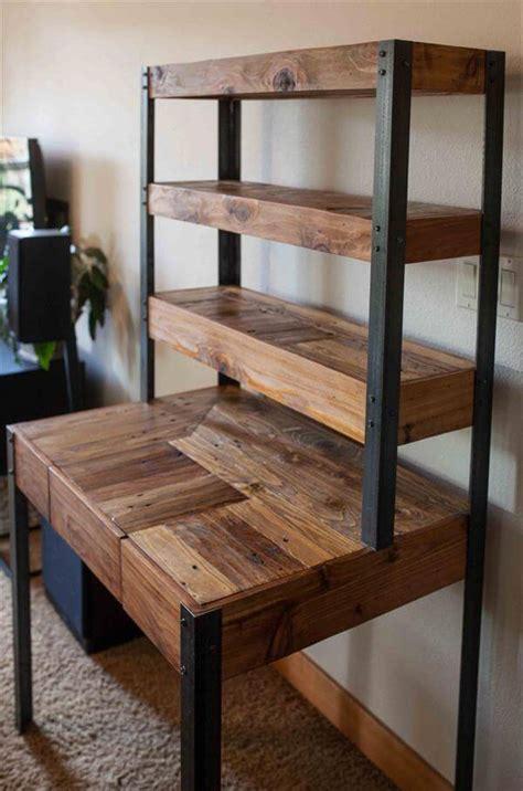 wood pallet desk multi tiered pallet desk 101 pallets