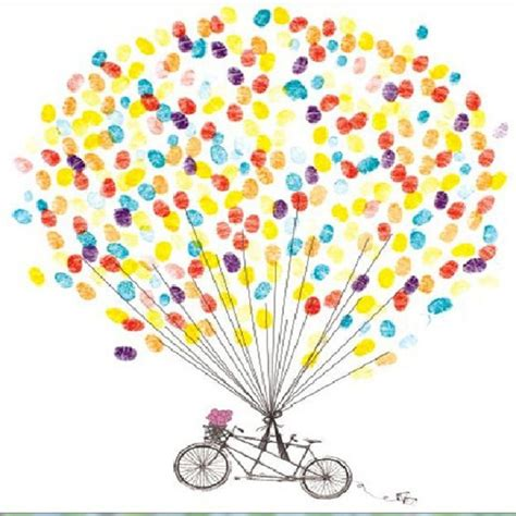 customized diy wedding fingerprint tree balloon bicycle