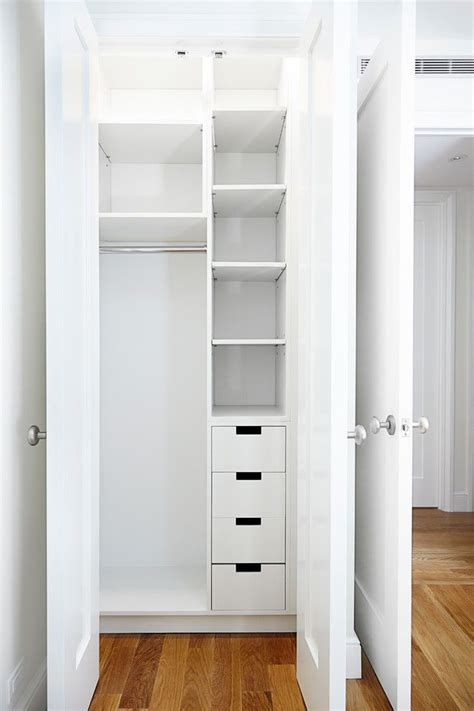 Built In Closet Organization Ideas by Small And Narrow Closet Organizer Idea In White Of Small
