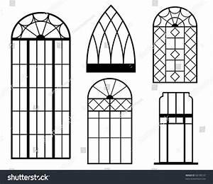 Set Vintage Window Silhouette Stock Vector 56198137 ...