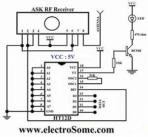 ask rf transmitter and receiver ic ht12d ht12e With circuit receiver
