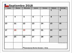 Calendario para imprimir septiembre 2018 Días feriados