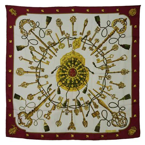 hermes burgundy  white silk key  tassel print