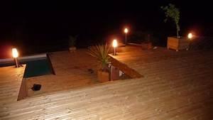 Eclairage Piscine Bois : terrasse bois eclairage ~ Edinachiropracticcenter.com Idées de Décoration