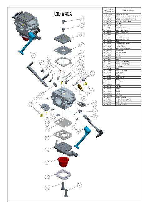 Two Cycle Carburetor Diagram by Zama C1q W40a