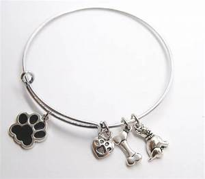 Expandable Wire BANGLE antique silver Charm BRACELET Dog ...