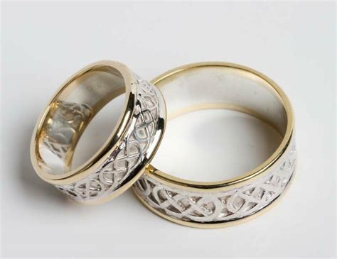 pair of irish handcrafted 14k gold and sterling silver celtic wedding rings ebay