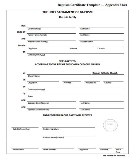 sample baptism certificate  documents   word psd