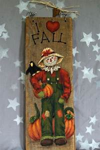 I, Love, Fall, Scarecrow, Hand, Painted, On, Barnwood, 5, X