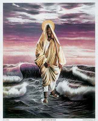 christ walking  water   jesus art black art