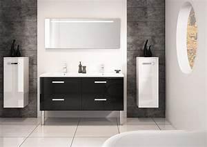 meuble double vasques 140cm gloss noir serie loft discac With meuble salle de bain loft