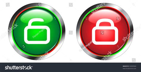 Lock And Unlock Shiny Icons/buttons Stock Vector