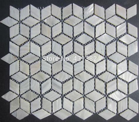 Kitchen Mosaic Backsplash Ideas - rhombus shell mosaic tiles 42 24 naural pure white mother of pearl tiles kitchen backsplash