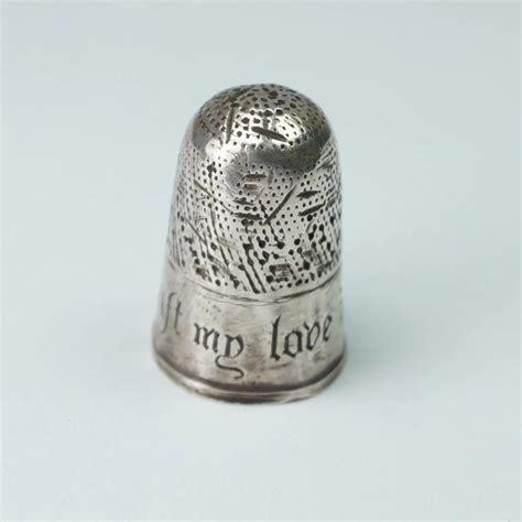 antique  century english silver thimble thoust  love