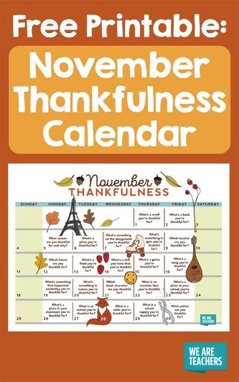 nov  thanksgiving thankfulness calendar  teachers