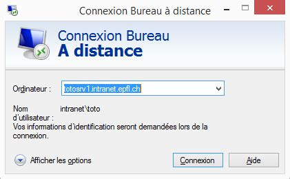 problème connexion bureau à distance windows epfl article no 367