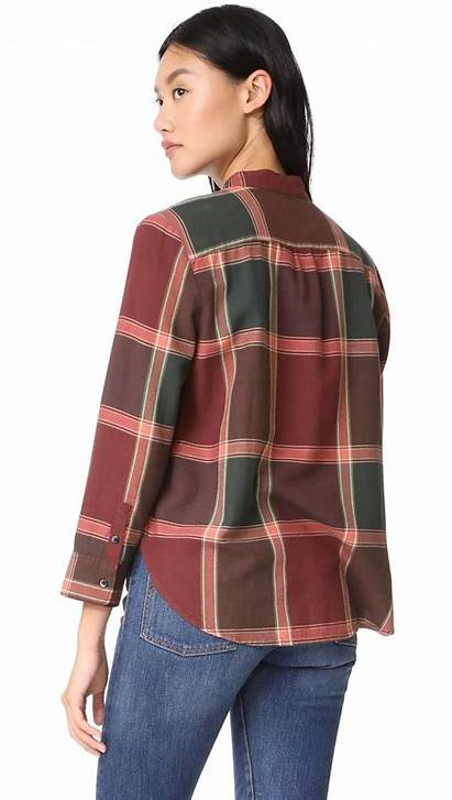 Plaid Shirt Tie Neck Madewell Blouse Lyst