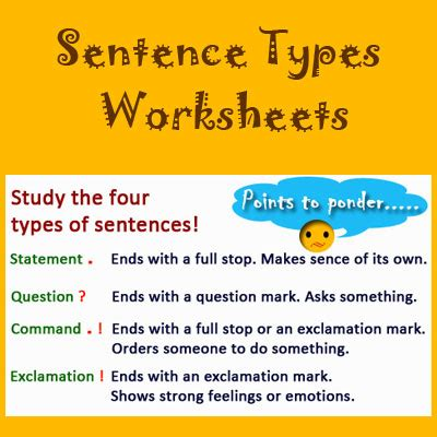 sentence types worksheets english grammar activities