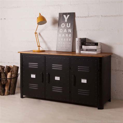 meuble cuisine en metal buffet bas 3 portes en métal noir et plateau bois l150cm