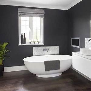 Makeover glamorous grey bathroom housetohomecouk for Dark gray bathroom