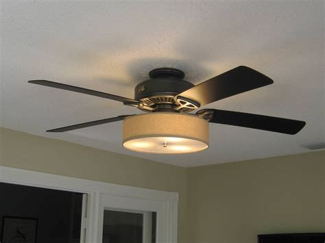 Low Profile Linen Drum Shade Light Kit For Ceiling Fan