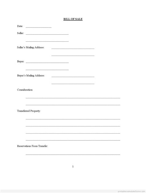 Can You Register A Boat With A Bill Of Sale In Florida by Printable Bill Of Sale Assorted Forms Form Pdf