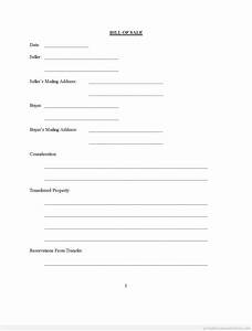 Printable Bill of Sale- Assorted Legal Forms Form (PDF)