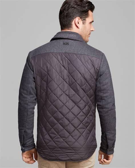 quilted shirt mens michael kors quilted shirt jacket in gray for lyst