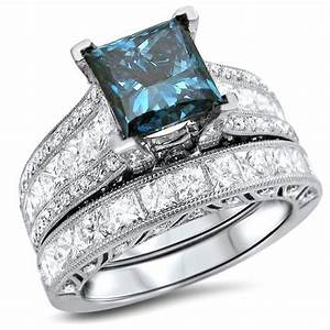 Jewels princess blue diamond ring set bridal ring set for Sapphire engagement ring and wedding band set
