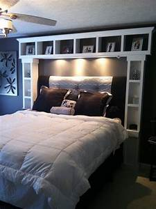 DIY bed :I want these shelves its like our headboard