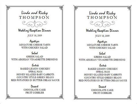 free menu templates for word 31 wedding menu templates sle templates