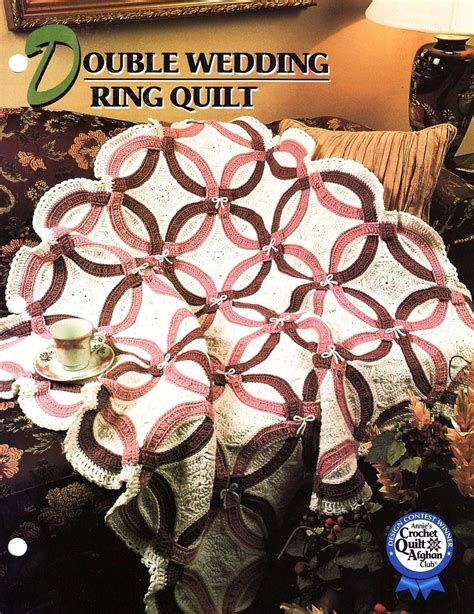 double wedding ring quilt afghan crochet pattern annies attic blanket double wedding rings