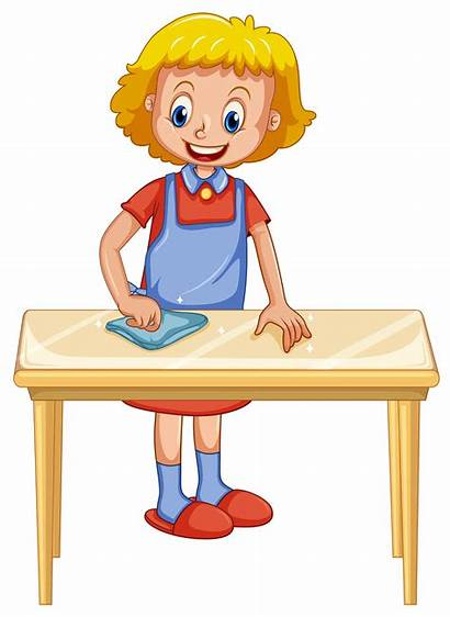 Cleaning Table Lady Background Clipart Vector Clean