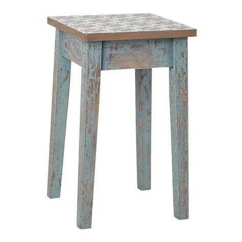 tabouret en bois patin 233 bleu armelle maisons du monde