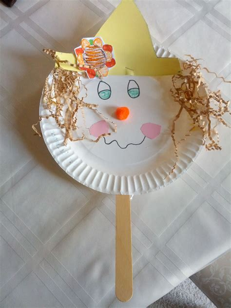 paper plate scarecrow puppet craft  teaching heart