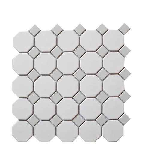white octagon with gray dots porcelain mosaic tile