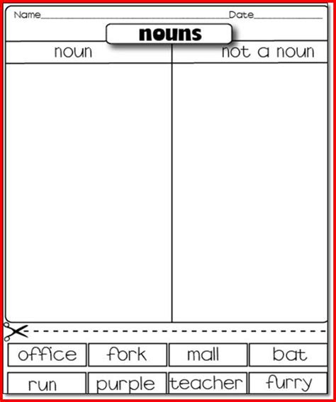 nouns verbs adjectives worksheets 1st grade